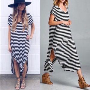 BAILEY Boho Striped Dress- BLACK